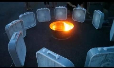 Άναψαν φωτιά και γύρω της έβαλαν ανεμιστήρες... Μαγευτικό!