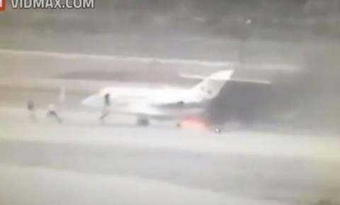 Ισραήλ: Στις φλόγες ιδιωτικό τζετ στο Μπεν Γκουριόν (video)