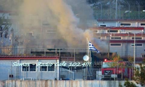 Σάμος: Μετανάστες έβαλαν φωτιά στο κέντρο υποδοχής στο Βαθύ (photos)