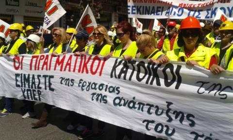 Συγκέντρωση διαμαρτυρίας των μεταλλωρύχων και πορεία στο κέντρο της Αθήνα