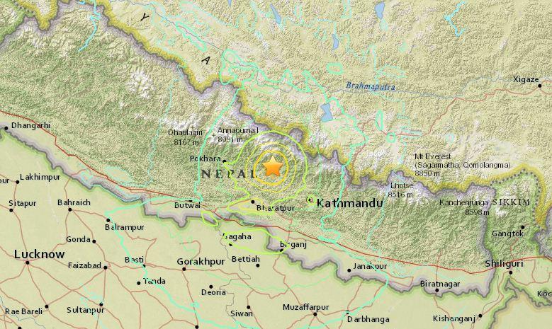 epikentro seismos nepal