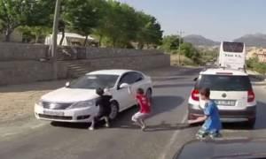 Σοκαριστικό ατύχημα στην Τουρκία: Αγοράκι γλίτωσε από του Χάρου τις… ρόδες! (video)
