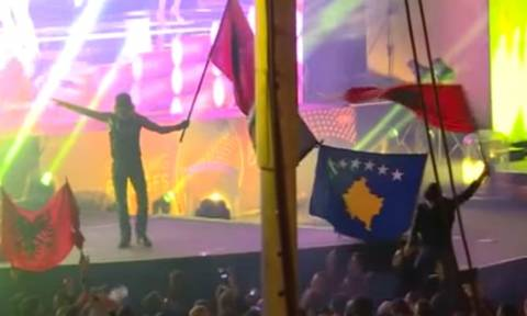 Eurovision 2015: Νέα πρόκληση Αλβανών εθνικιστών - Ύψωσαν σημαία της «Μεγάλης Αλβανίας» (vid)