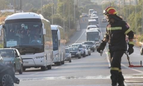Κρήτη: Σοβαρό τροχαίο με τραυματίες στον ΒΟΑΚ - Αυτοκίνητο τυλίχθηκε στις φλόγες (pics)