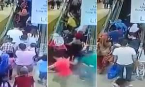 Τρόμος στο εμπορικό: Οι κυλιόμενες άρχισαν να πηγαίνουν προς τα πίσω! (video)