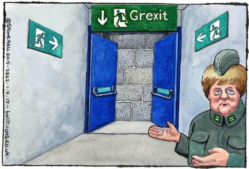 Δημοψήφισμα 2015: Guardian - Η «στρατιωτικός» Μέρκελ δείχνει την πόρτα του Grexit (photo)