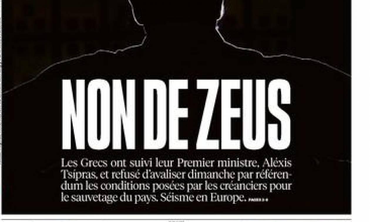 Αποτελέσματα δημοψηφίσματος 2015: Η Ελλάδα στο πρωτοσέλιδο της Liberation - Το «όχι» του Δία (pic)