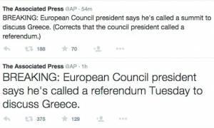 Δημοψήφισμα: Απίστευτη γκάφα του Associated Press - Έκαναν τη Σύνοδο Κορυφής νέο δημοψήφισμα