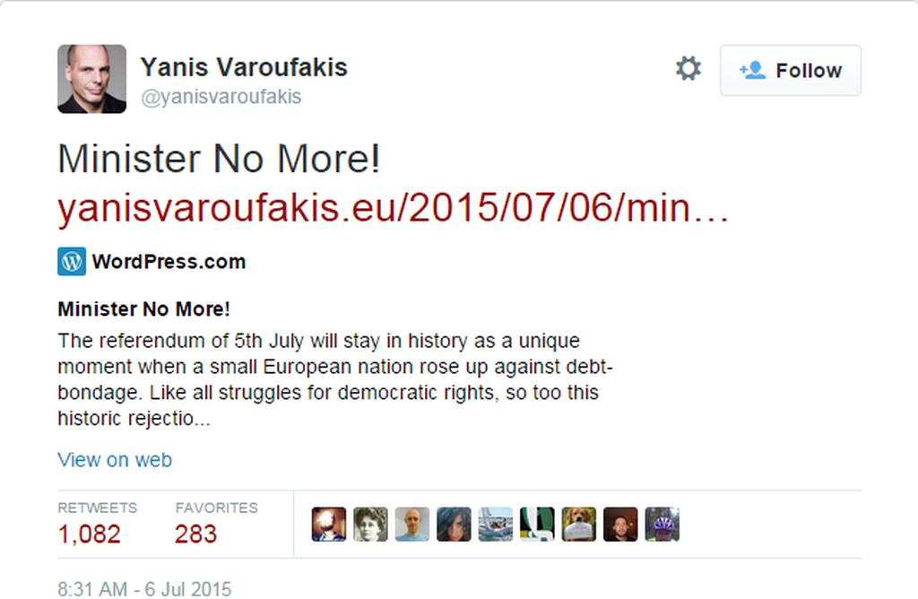 Έκτακτο: Παραιτήθηκε ο Γιάνης Bαρουφάκης