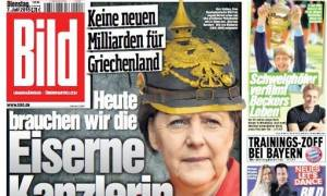 Σύνοδος Κορυφής και Eurogroup - Bild: Η Μέρκελ με περικεφαλαία κατά της Ελλάδας