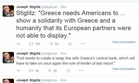 Συμφωνία - Στίγκλιτς: «Οι ΗΠΑ πρέπει να σώσουν την Ελλάδα»