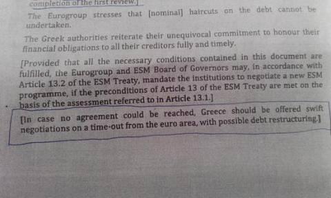 Συμφωνία: Αναφορά για προσωρινό Grexit στο προσχέδιο του Eurogroup
