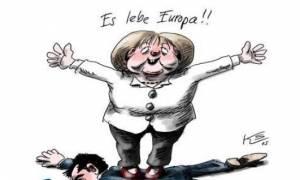 Συμφωνία - Η Μέρκελ πατάει πάνω στον Τσίπρα και φωνάζει: «Ζήτω η Ευρώπη»