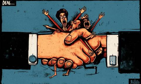 Χειραψία που συνθλίβει τον ελληνικό λαό: Το σκίτσο της Independent για τη συμφωνία
