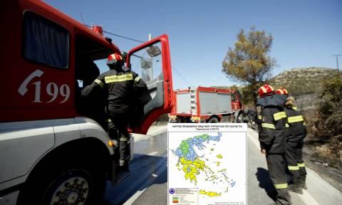 Υψηλός ο κίνδυνος πυρκαγιάς στη… μισή Ελλάδα – Δείτε τον χάρτη πρόβλεψης για την Παρασκευή 17/7