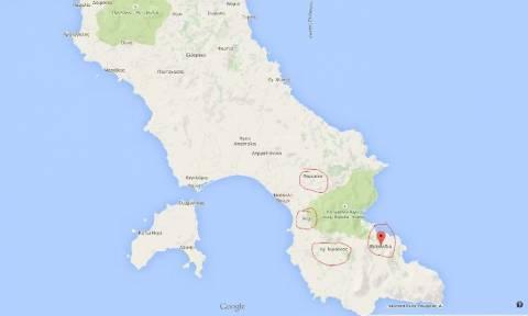 Φωτιά Λακωνία: Δείτε το χάρτη με τα μέτωπα της πυρκαγιάς