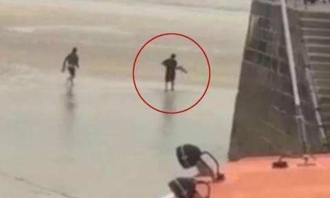 Κουβάλησε στην πλάτη του ζωντανό… καρχαρία και τον πέταξε πίσω στη θάλασσα! (video)