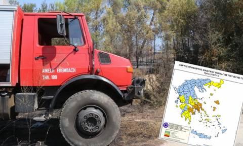 Πορτοκαλί συναγερμός! Ο χάρτης πρόβλεψης κινδύνου πυρκαγιάς για την Τρίτη 21/7