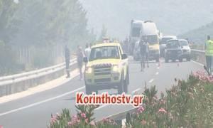 Υπο πλήρη έλεγχο η φωτιά στην εθνική οδό Κορίνθου - Τρίπολης (video)