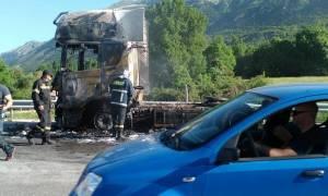 Ιωάννινα: Στις φλόγες νταλίκα στην Εγνατία Οδό
