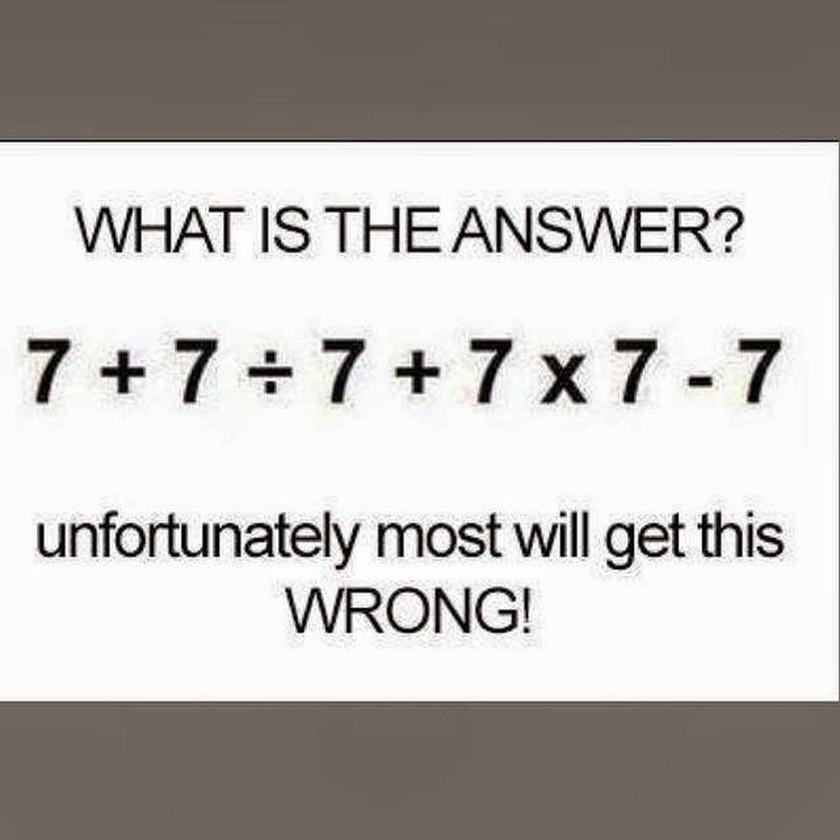 Πόσο κάνει 7 + 7 : 7 + 7 x 7 – 7; Μπορείτε να το λύσετε σε μισό λεπτό; [photo]