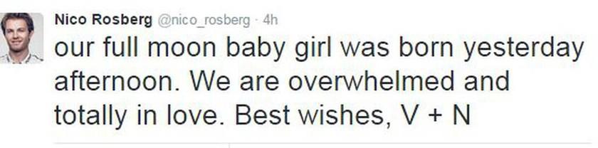 F1: Ο Nico Rosberg έγινε πατέρας