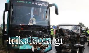 Τροχαίο με επτά τραυματίες στα Τρίκαλα - Στρατιωτικό τζιπ συγκρούστηκε με ΚΤΕΛ (photos - video)
