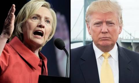 Κλείνει η «ψαλίδα» μεταξύ της Χίλαρι Κλίντον και του Ντόναλντ Τραμπ