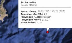 Σεισμός 4,9 Ρίχτερ ανατολικά της Κρήτης