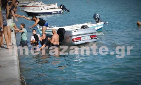 Ζάκυνθος: Όχημα ανατράπηκε και κατέληξε στη θάλασσα (photos)