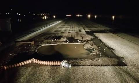 Large pothole reappears on Rhodes airport runway