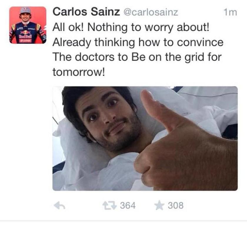 Grand Prix Ρωσίας: Καλά τα νέα για τον Sainz όπως ο ίδιος δημοσίευσε στα μέσα κοινωνικής δικτύωσης