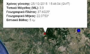 Σεισμός 3,9 Ρίχτερ στην κεντρική Πελοπόννησο