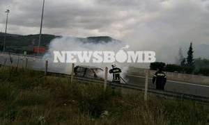 Αυτοκίνητο τυλίχτηκε στις φλόγες στα διόδια Τραγάνας