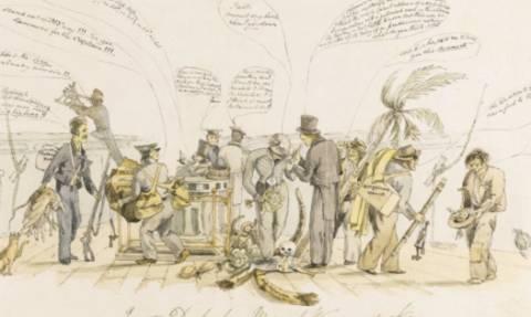 Η μόνη γνωστή απεικόνιση του Κάρολου Δαρβίνου στο Beagle