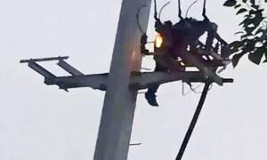 Σκληρές εικόνες: Τσακώθηκε με τη φίλη του και έπεσε… φλεγόμενος από κολόνα! (video)