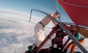 Πέφτει ημίγυμνος στο κενό και χωρίς αερόστατο... (video)