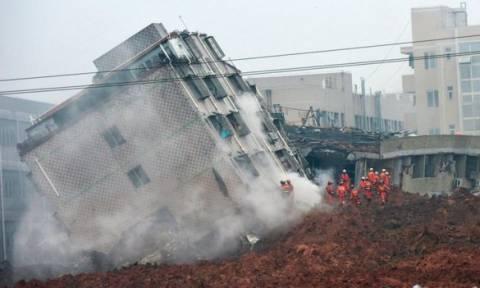 Δεκάδες αγνοούμενοι από κατολίσθηση κτηρίων στην Κίνα (pics+vid)