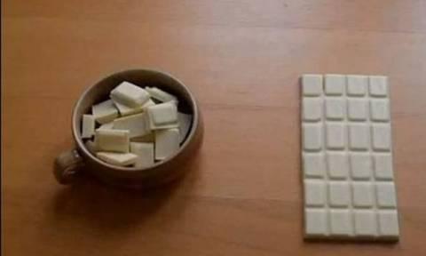 Το κόλπο που τα σπάει! Πώς να κλέψετε ένα κομμάτι σοκολάτας χωρίς να γίνει αντιληπτό