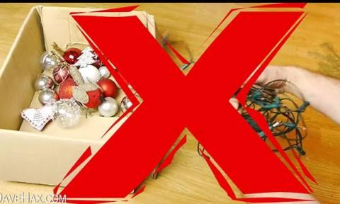 Πώς θα αποθηκεύσετε τα χριστουγεννιάτικα λαμπάκια χωρίς να μπλεχτούν! (video)
