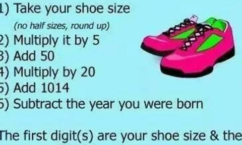 Το απόλυτο τρικ! Βρίσκει την ηλικία και το νούμερο παπουτσιού σας