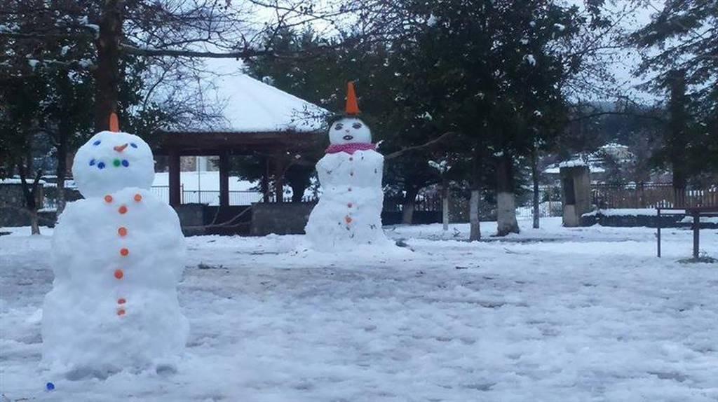 Ο μεγαλύτερος χιονάνθρωπος στην Αρκαδία (pics)