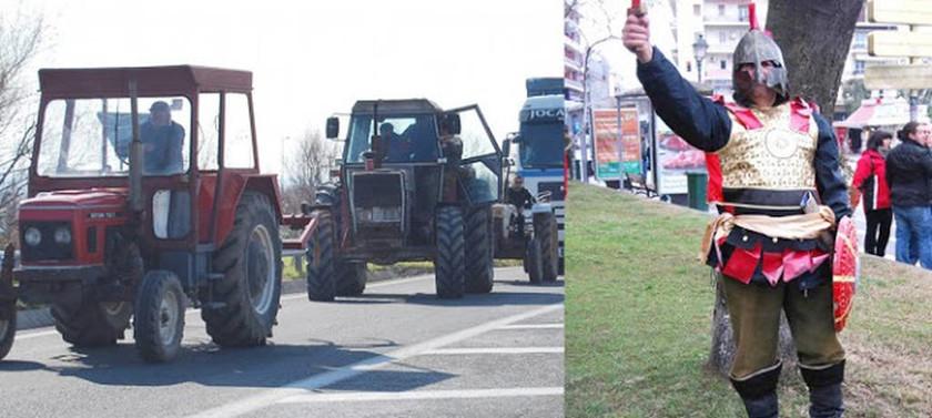 Μπλόκα αγροτών - Καβάλα: Αγρότης ντύθηκε… Μέγας Αλέξανδρος για να κατατροπώσει τα μέτρα (pic)