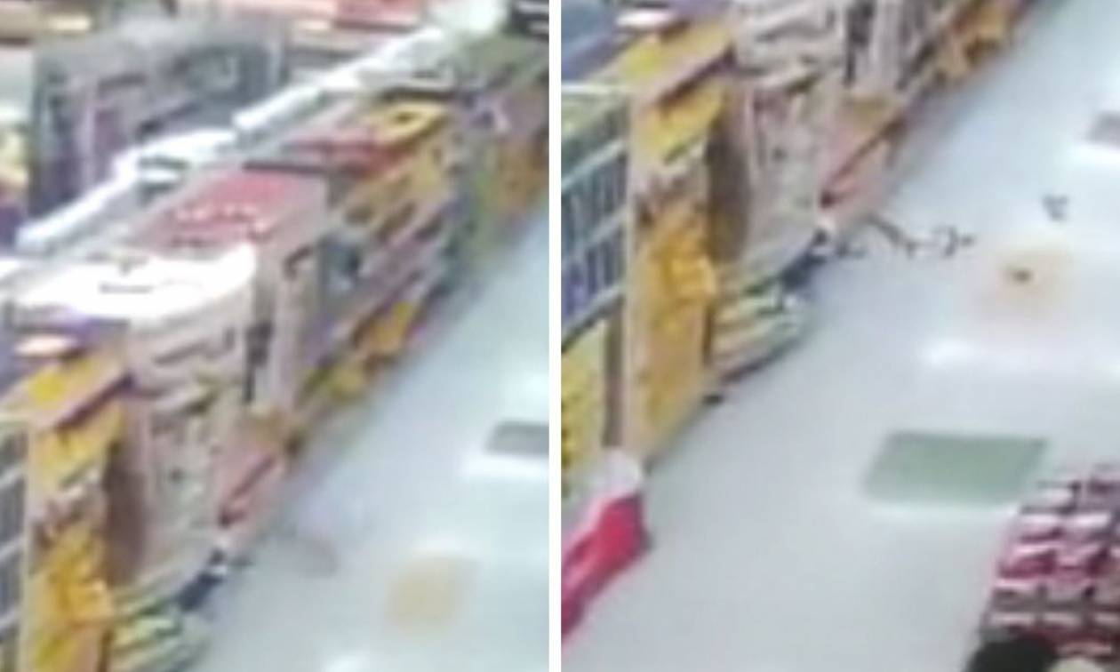 Εξοργισμένο φάντασμα πετά τρόφιμα σε πελάτες σούπερ μάρκετ! (video)
