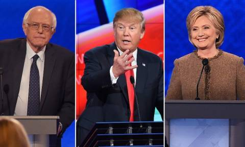 Οριακά προηγείται ο Ντόναλντ Τραμπ ενώ ισόπαλοι εμφανίζονται Χίλαρι Κλίντον και Μπέρνι Σάντερς (Vid)