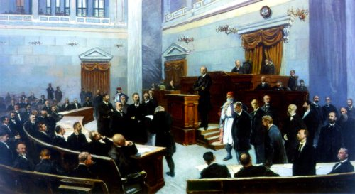 Oil painting of the Greek Parliament at the end of the 19th century by N. Orlof