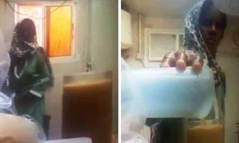 Βίντεο-σοκ καταγράφει τη στιγμή που υπηρέτρια αδειάζει τα ούρα της στο χυμό του αφεντικού της