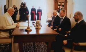 Συνάντηση του Πάπα Φραγκίσκου με Γιούνκερ, Σουλτς και Τουσκ