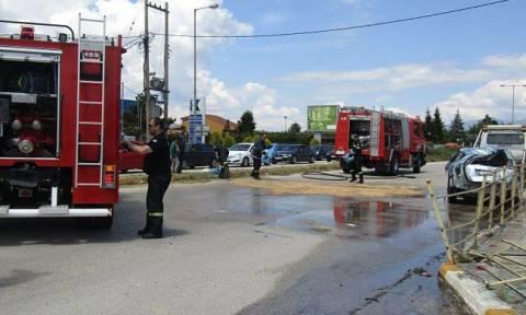 Ιωάννινα: Τροχαίο στον κόμβο του ΤΕΙ με δύο τραυματίες (pics)