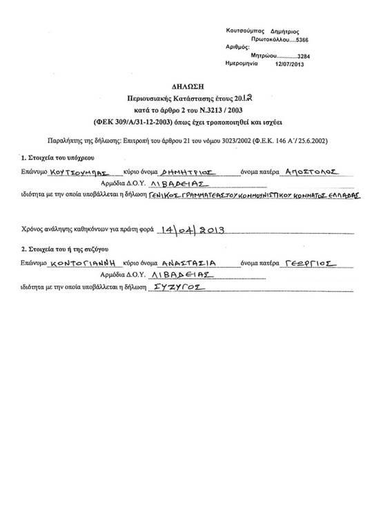 Πόθεν έσχες: Δείτε τη δήλωση περιουσιακής κατάστασης του Δημήτρη Κουτσούμπα (photos)